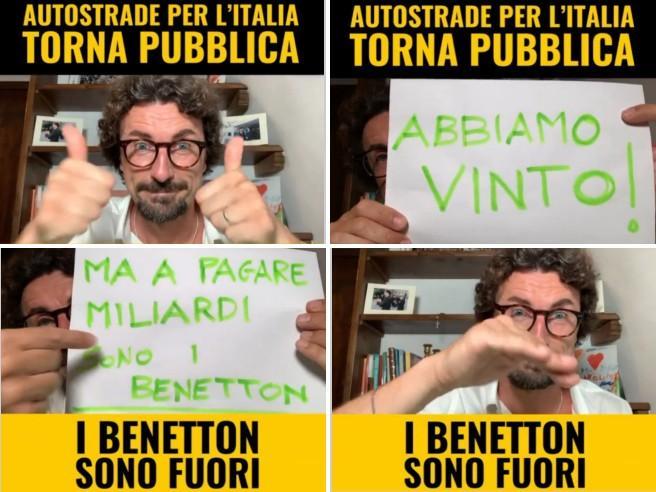 Toninelli show (a gesti) su Instagram: «I Benetton sono fuori grazie al  M5s» - Corriere TV