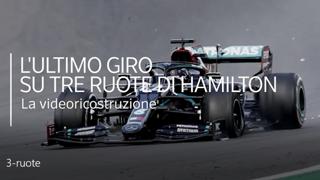 Hamilton vince ancora, ma questa volta su tre ruote: la videoricostruzione dell'ultimo giro
