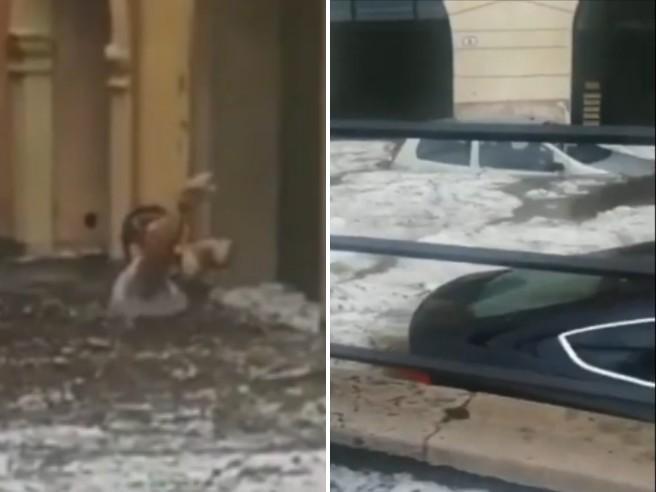 Verona, città sommersa dall'acqua: le strade sono fiumi di grandine