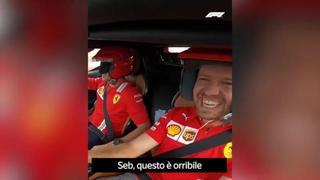 Vettel guida la Ferrari SF90 al Mugello e al suo fianco c'è Leclerc (bendato): il video è esilarante