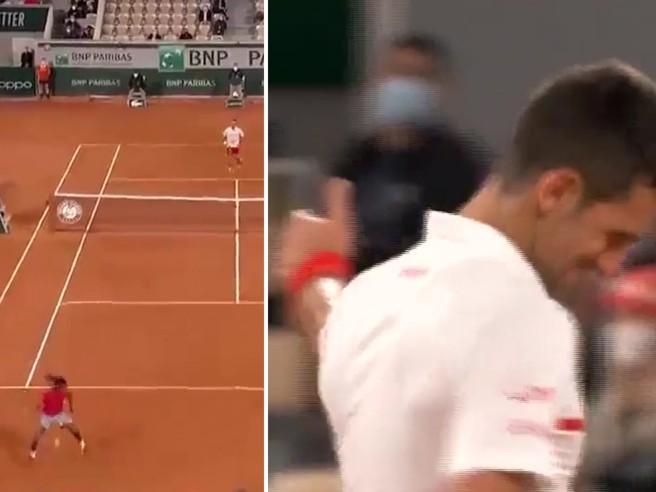 Ymer, spettacolare colpo sotto le gambe e passante a Djokovic (che lo applaude)