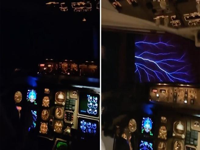 Lo strano fenomeno dei fuochi di Sant'Elmo ripreso dal cockpit dell'aereo