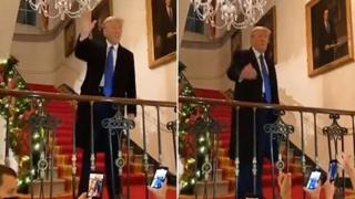 «Ci vediamo tra 4 anni», Donald Trump durante una festa natalizia alla Casa Bianca