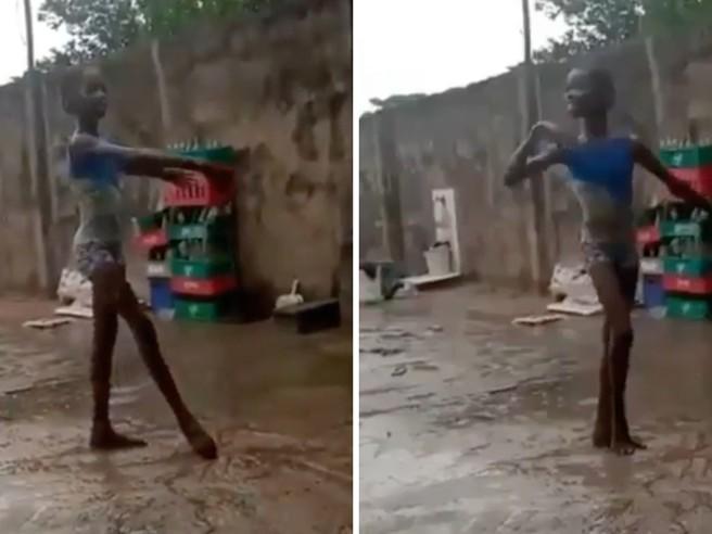 Bolle posta il video di una piccola ballerina a piedi scalzi sotto la pioggia: «Ha la grazia di una étoile»