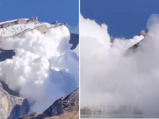 Nepal, la valanga genera un'enorme nuvola che sfiora gli escursionisti