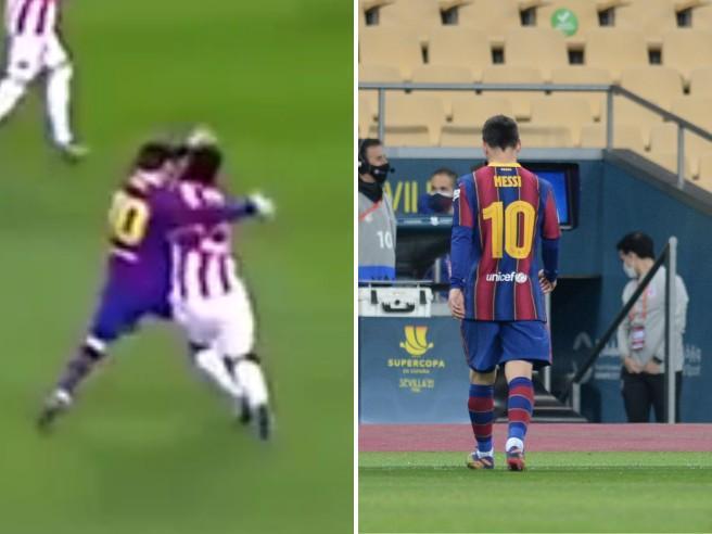 Follia Messi, pugno in faccia all'avversario e prima espulsione con la maglia del Barcellona