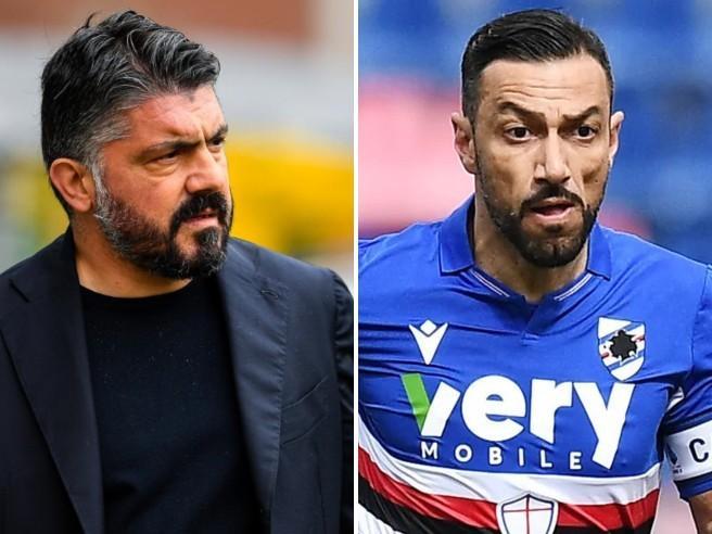 Scintille tra Quagliarella e Gattuso: «Stai facendo la telecronaca».«Pensa a giocare e non rompere i c...»
