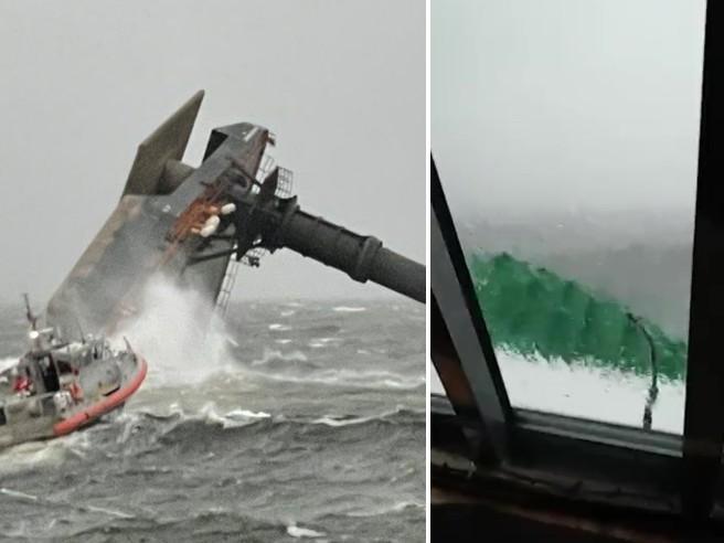Usa, nave si capovolge nel Golfo del Messico: l'arrivo dei soccorritori tra le onde altissime