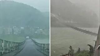 Cina, il ponte balla e oscilla spaventosamente per il violento temporale