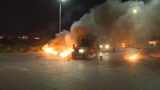 Scontri tra manifestanti palestinesi e le forze armate israeliane al checkpoint della Dco