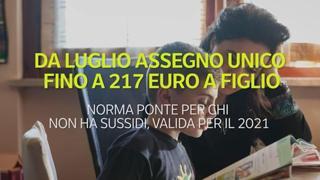 Da luglio assegno unico fino a 217 euro a figlio