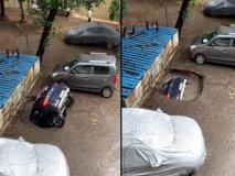 India, un'auto viene inghiottita dalla voragine nel parcheggio