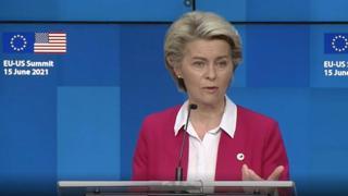 la presidente della Commissione europea, Ursula von der Leyen, al termine del summit Ue-Usa