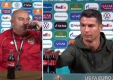 Il ct della Russia «sfida» Ronaldo: stappa la Coca Cola e la beve in conferenza stampa