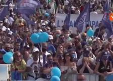 L'abbraccio tra Salvini, Michetti e Matone alla manifestazione della Lega