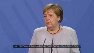 Europei, Merkel: «Più tifosi per la finale a Wembley? Che la Uefa agisca con responsabilità»