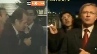 Dai calci di Frajese alle corna in diretta tv: la «carriera» del disturbatore Paolini