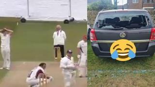 Cricket, realizza un fuoricampo ma rompe il vetro della sua auto
