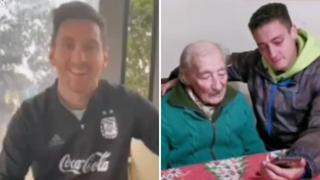 La sorpresa di Messi al centenne Hernan, che annota tutti i suoi goal: l'emozione del tifoso