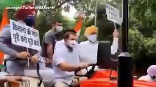 India, Rahul Gandhi arriva in Parlamento a bordo di un trattore