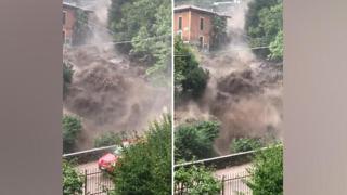 Una cascata d'acqua a Cernobbio rischia di travolgere un'automobile