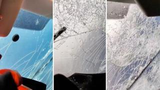 L'incubo grandine sulla A1, il video di un automobilista mentre il parabrezza va in frantumi