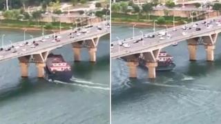 Cina: la nave cargo si schianta contro il pilone del ponte