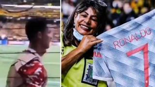 Ronaldo stende la steward con una pallonata, poi corre a scusarsi con lei e le regala la maglia
