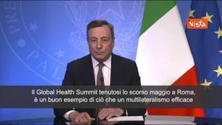 Draghi: «Grandi progressi ma ancora diseguaglianze su vaccini nel mondo»