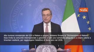 Draghi: «Rispettare obiettivo di eliminare la fame nel mondo entro il 2030»