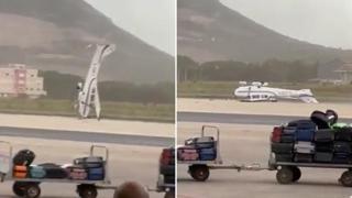 Tromba d'aria ad Alghero, il vento fa impennare e poi rovescia un ultraleggero