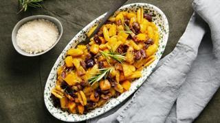 Gnocco sardo con zucca, fagioli e pancetta