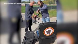 Roma, Mourinho prepara la sfida con la Juve con il drone