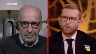 Piazzapulita, scontro Provenzano-Sallusti: «Dovrebbe chiedermi scusa», «No è lei che deve chiedere scusa a Meloni»