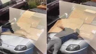 Ecco come questo automobilista protegge la sua macchina da una forte grandinata