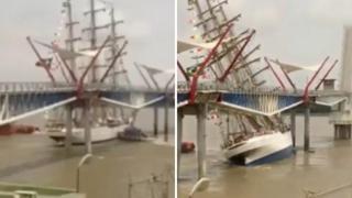Ecuador, veliero brasiliano sbatte contro un ponte sul fiume Guayas