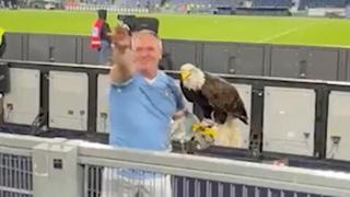 Lazio, il falconiere fa il saluto romano al pubblico che grida «Duce Duce»