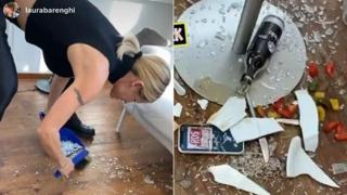 Michelle Hunziker combina un disastro in hotel