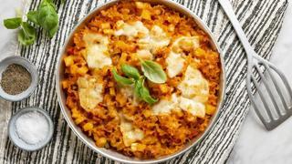 Mafalde corte con patate gratinate al forno con caciocavallo podolico