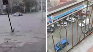 Nubifragio a Siracusa, strade allagate e tombini sollevati