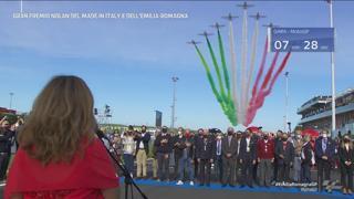Le Frecce Tricolori sorvolano Misano per l'ultima gara in Italia di Valentino Rossi