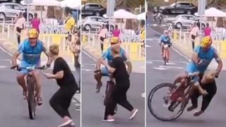 Terribile incidente sulla linea del traguardo: la spettatrice travolta dal ciclista