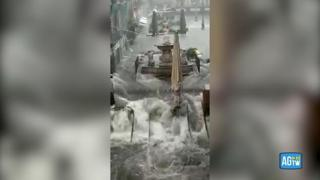 Maltempo a Catania, torrenti di pioggia nel centro storico