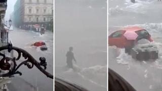 Catania, la strada è un fiume: donna scende dall'auto in mezzo alla corrente