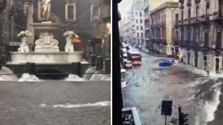 Catania, piazza Duomo è un lago, le strade sono fiumi in piena: il violento nubifragio