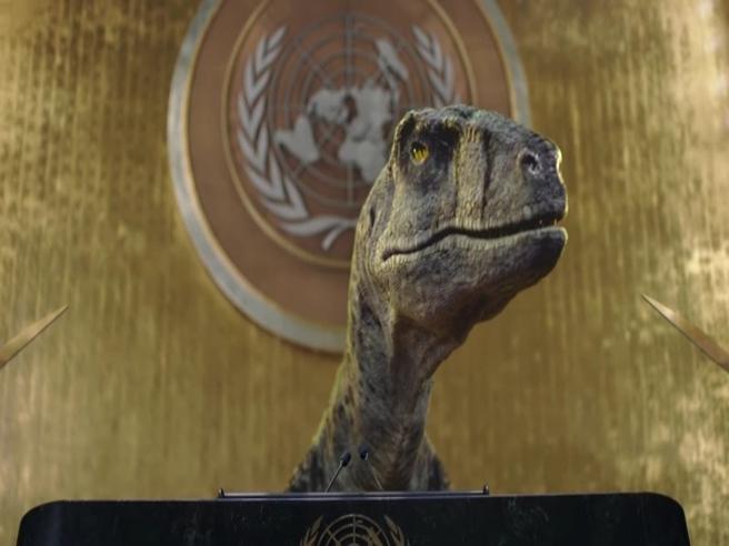 Un tirannosauro alle Nazioni Unite: «Credete a me. Estinguersi è una brutta cosa!»