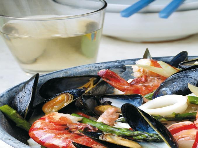 Frutti di mare con asparagi
