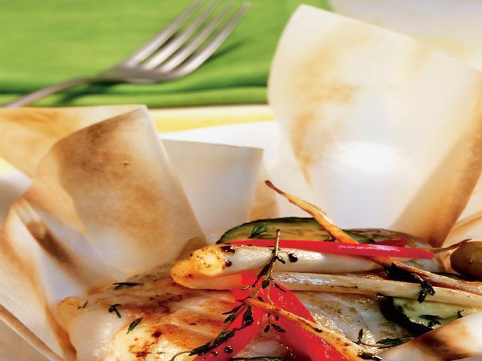 Filetti di rana pescatrice con verdure al cartoccio