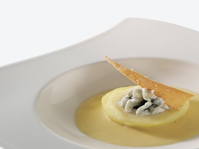 Mele renette al gorgonzola su fonduta di taleggio