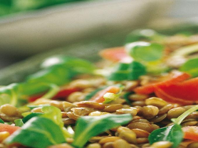 Insalata di lenticchie al prosciutto